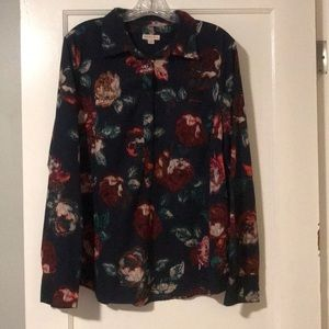 Navy floral half button blouse.